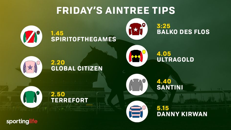 The most popular selections at Aintree on Friday