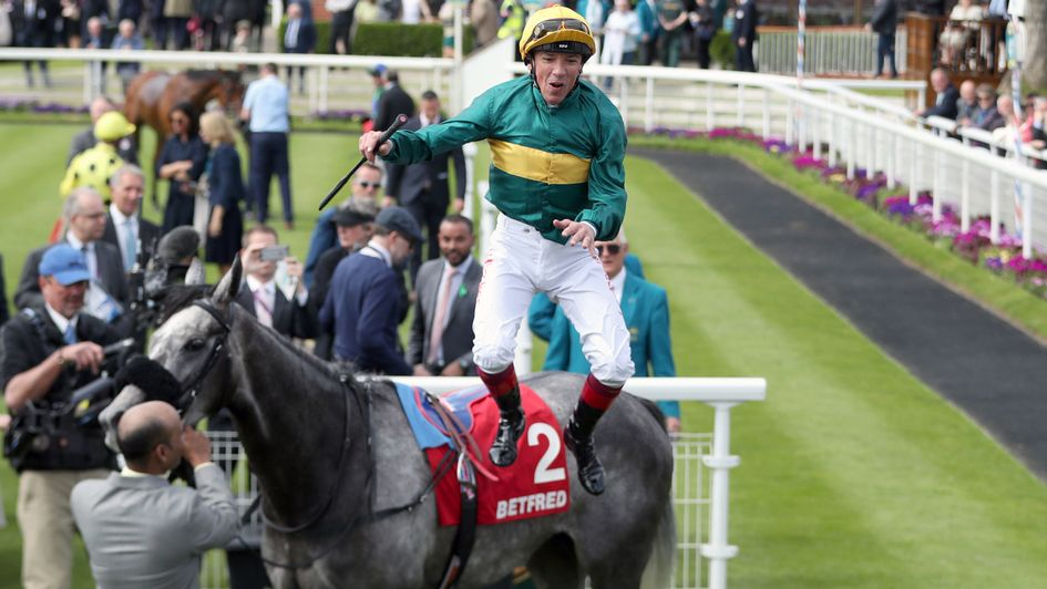 Coronet has Frankie Dettori jumping for joy at York