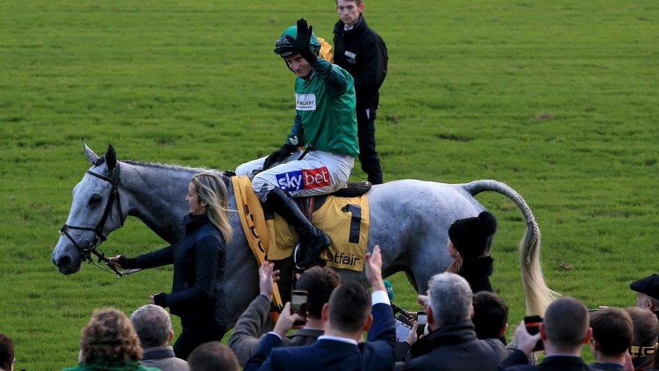 Daryl Jacob celebrates after Bristol De Mai's second Betfair Chase win