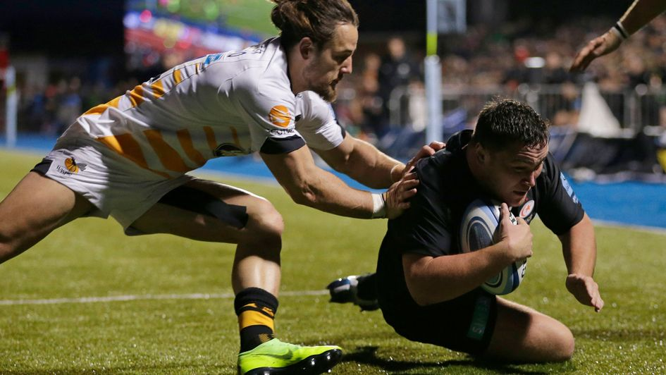 Jamie George scores Saracens' first try