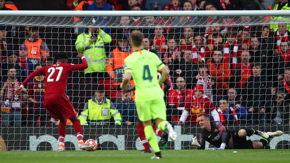 Divock Origi: The Liverpool forward opens the scoring with an early goal against Barcelona