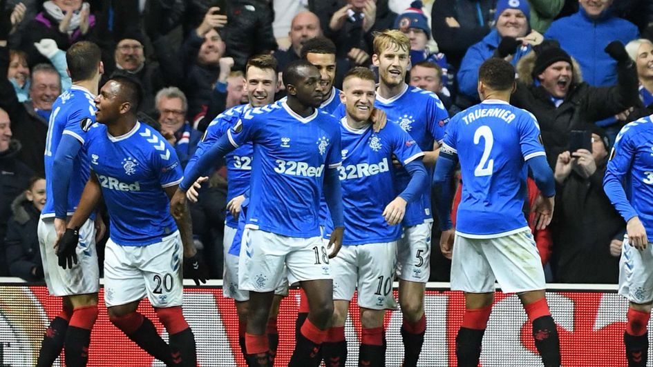 Rangers celebrate beating Porto in the Europa League at Ibrox