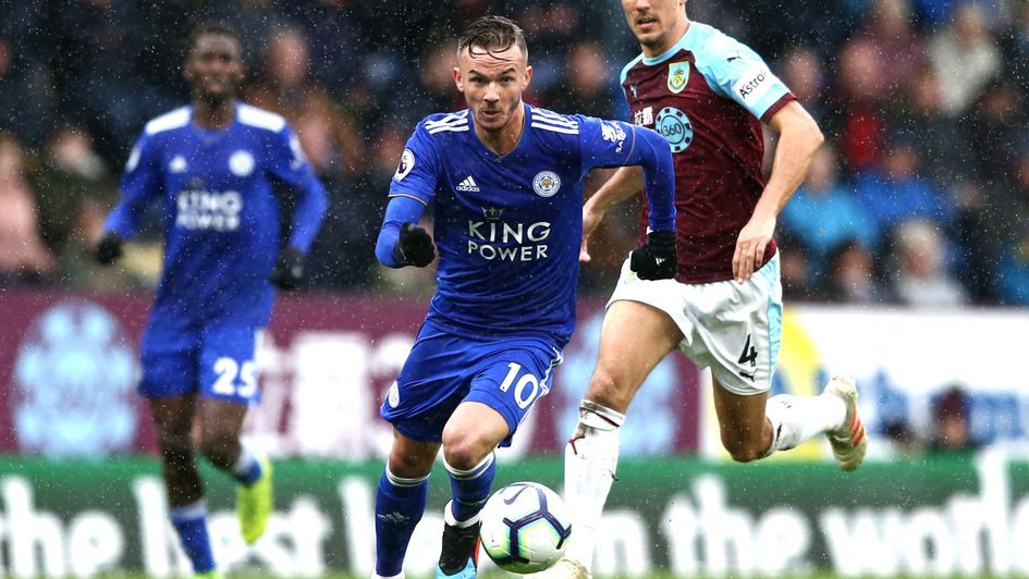 Leicester's James Maddison in action at Burnley