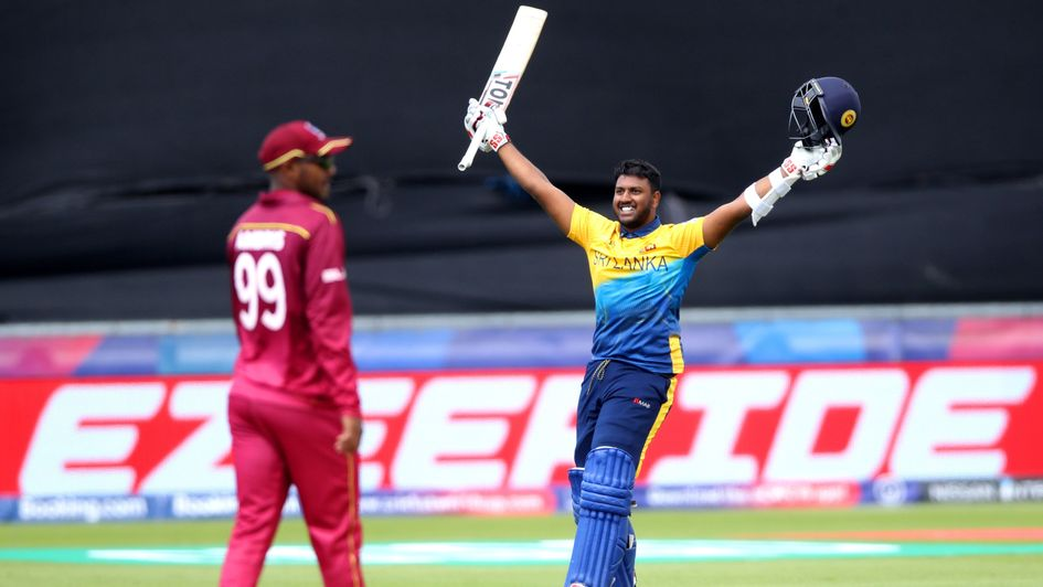 Avishka Fernando celebrates his century