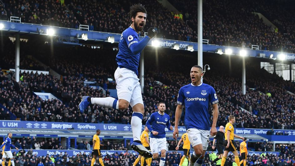 Andre Gomes celebrates his goal against Wolves