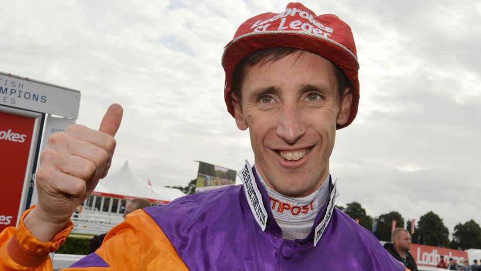 George Baker after winning the St Leger on Harbour Law in 2016