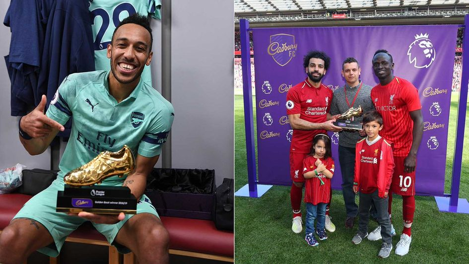 Left to right: Pierre-Emerick Aubameyang, Mo Salah and Sadio Mane receive their Golden Boot award
