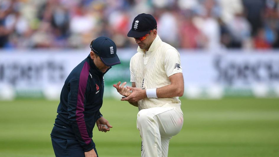 James Anderson gets treatment during England's Ashes Test against Australia