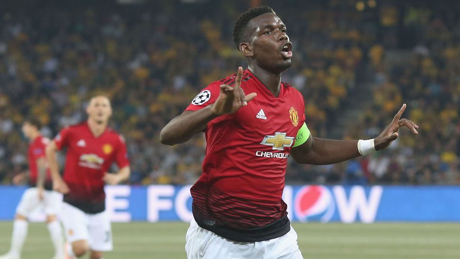Paul Pogba: The midfielder celebrates his goal for Manchester United against Young Boys in the Champions League