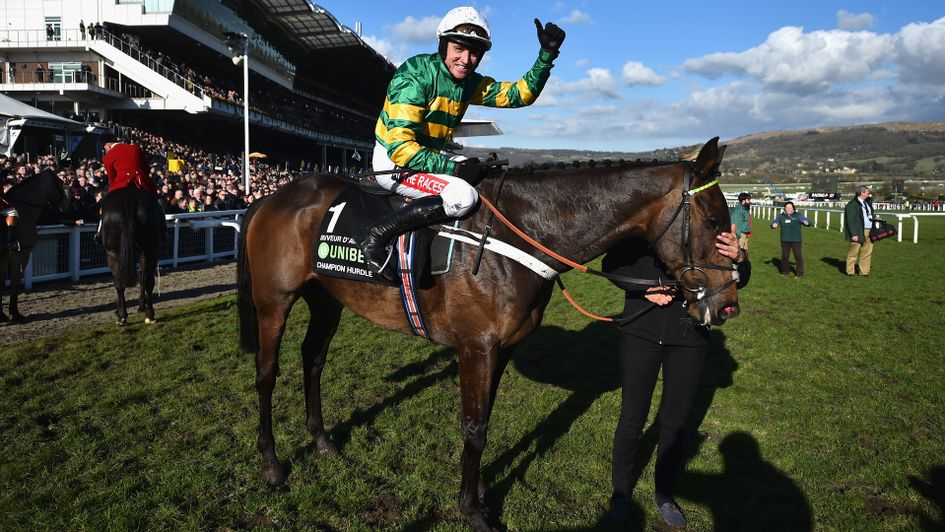 Barry Geraghty celebrates after winning on Buveur D'Air