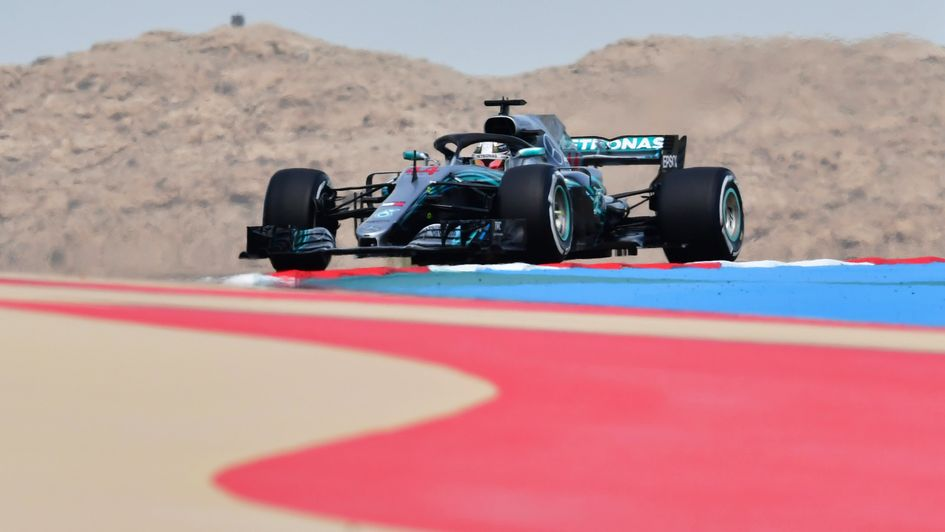 Lewis Hamilton in first practice for the Bahrain Grand Prix