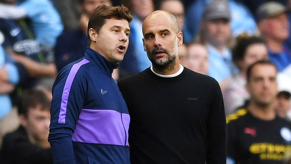 Mauricio Pochettino (left) and Pep Guardiola: In conversation at the Etihad