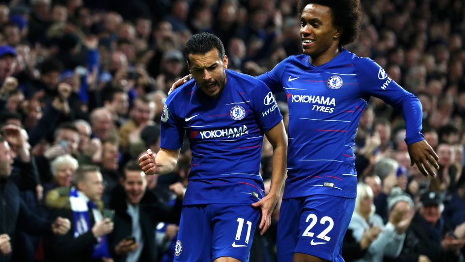 Pedro celebrates with Willian