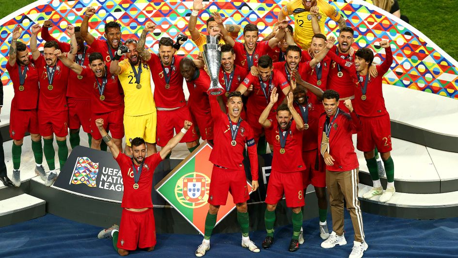 Cristiano Ronaldo lifts the Nations League trophy for Portugal
