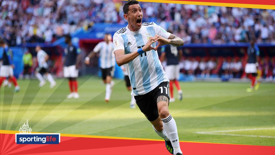 Angel Di Maria celebrates his equaliser for Argentina against France