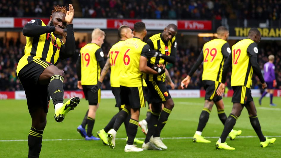 Isaac Success celebrates his goal for Watford against Huddersfield