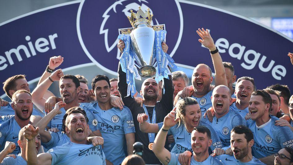 ผลการค้นหารูปภาพสำหรับ pep guardiola won champions premier league 2018-2019