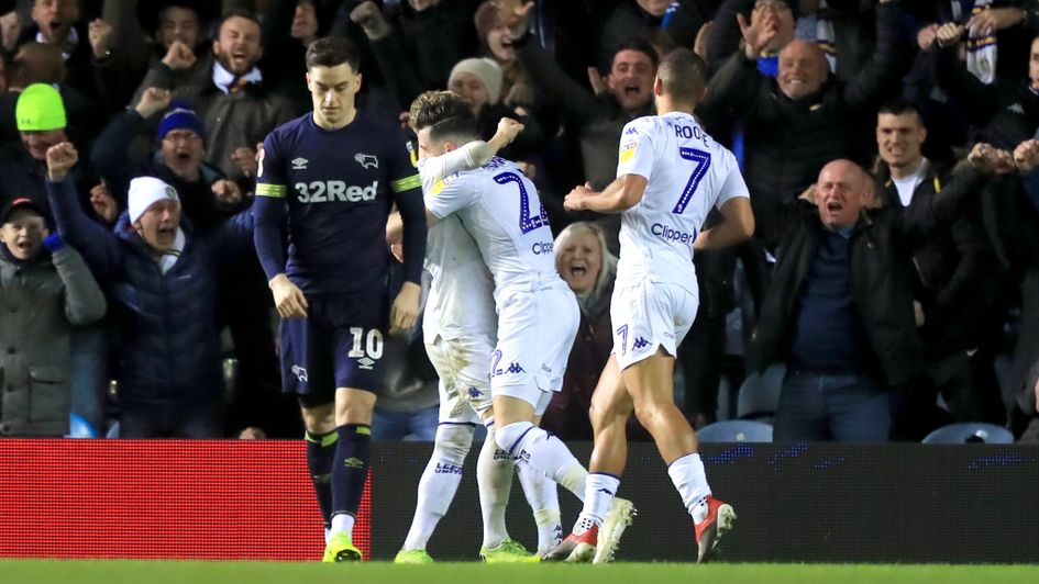 Leeds United celebrate Jack Harrison's goal against Derby