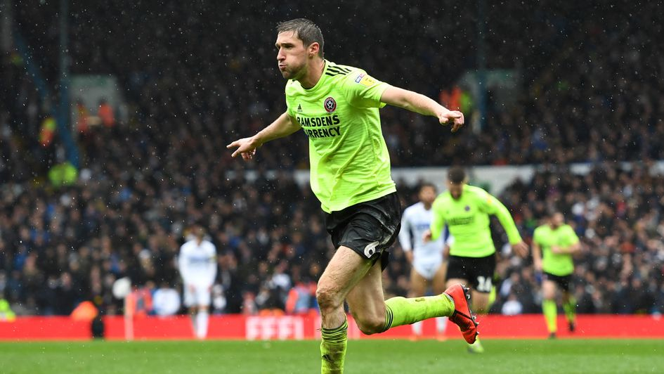 Chris Basham: Celebrations after scoring the winner for Sheffield United at Leeds