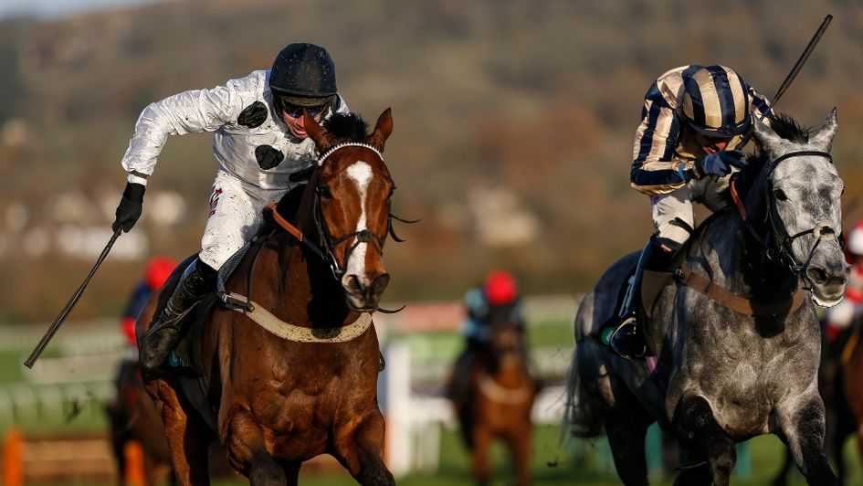 Elgin (left) wins the Greatwood Hurdle from Misterton