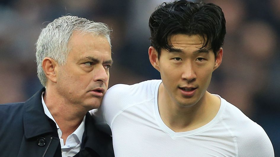 Heung-Min Son, right, with Jose Mourinho