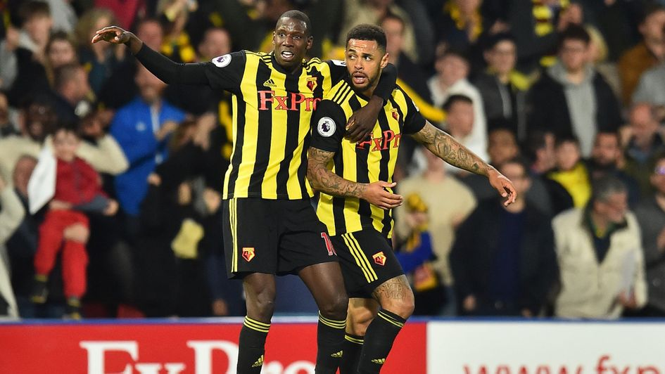 Andre Gray (right): Watford striker celebrate Southampton's late strike