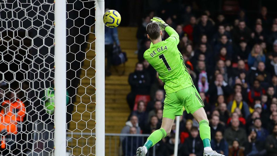 Manchester United keeper David De Gea lets in a Watford goal