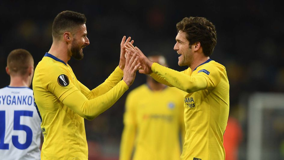 Olivier Giroud and Marcos Alonso celebrate for Chelsea