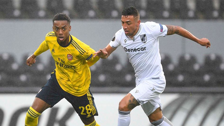 Arsenal's Joe Willock in action against Vitoria Guimaraes in the Europa League