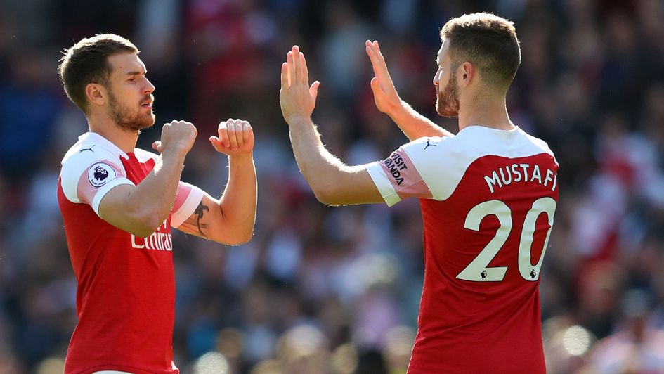 Arsenal's Aaron Ramsey and Shkodran Mustafi prior to their Premier League fixture with Watford