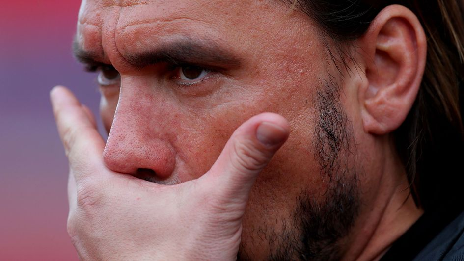 Norwich City manager Daniel Farke shows a look of dejection as his side draw with Stoke