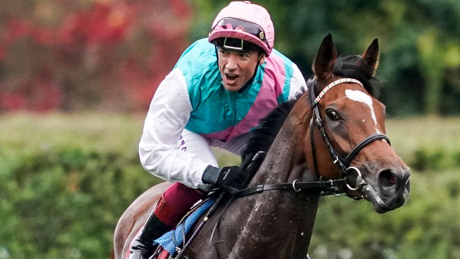 Frankie Dettori celebrates on Enable