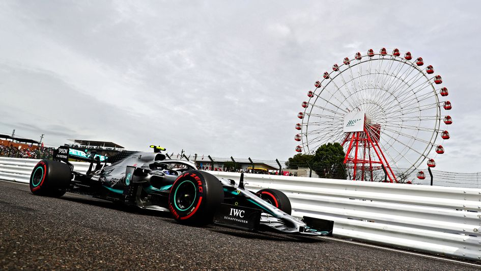 Valtteri Bottas: Mercedes driver pictured during practice at the Japanese Grand Prix