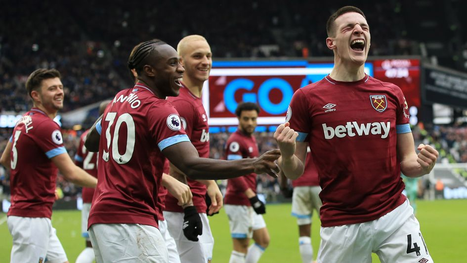 Declan Rice: The West Ham youngster celebrates his first goal for the club - a valuable winner against Arsenal