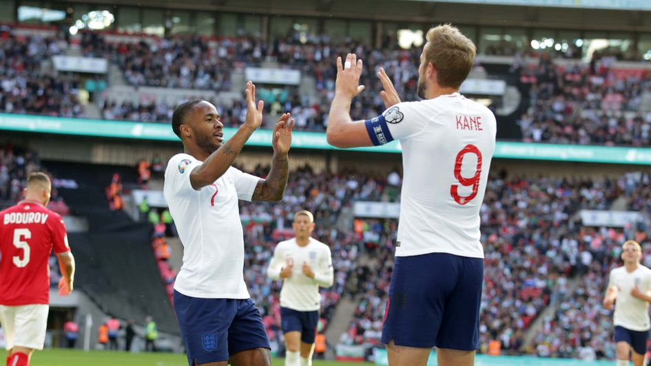 Harry Kane and Raheem Sterling celebrate for England against Bulgaria in Euro 2020 qualifying