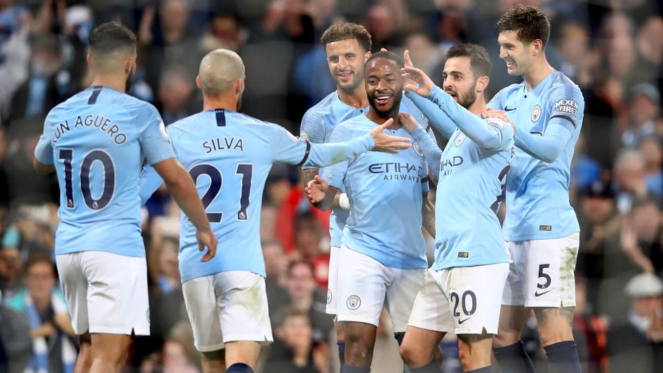 Raheem Sterling celebrates scoring Manchester City's fifth against Southampton