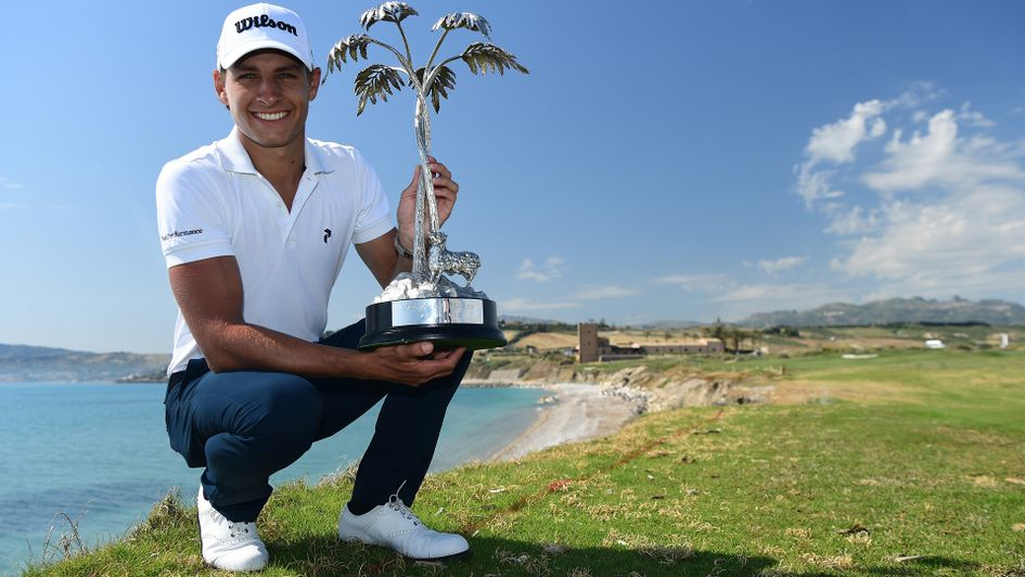 Joakim Lagergren with the Rocco Forte Sicilian Open trophy