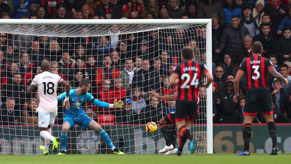 Callum Wilson scores for Bournemouth against Manchester United