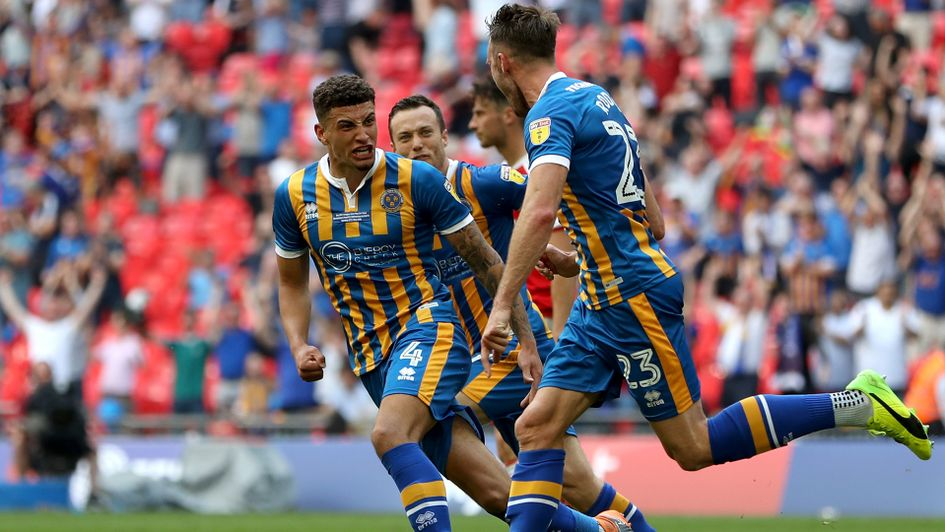 Shrewsbury celebrate Alex Rodman's goal in the Sky Bet League One play-off final