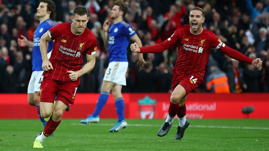 James Milner celebrates his goal against Leicester