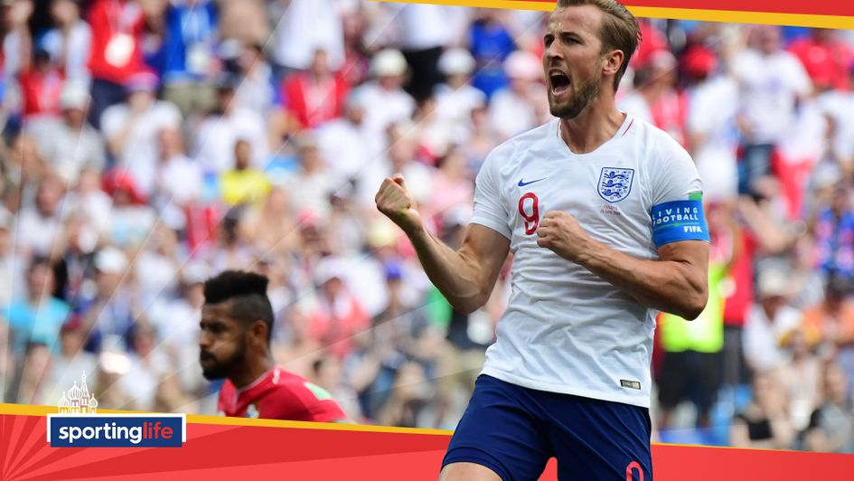 Harry Kane celebrates after scoring against Panama