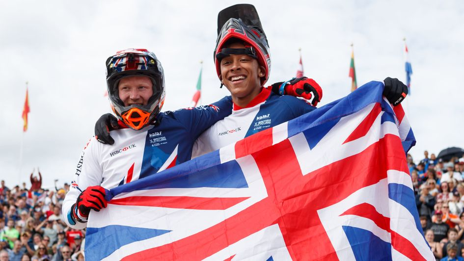 Great Britain's gold medalist Kyle Evans (left) celebrates his victory with teammate and silver medalist Kye Whyte