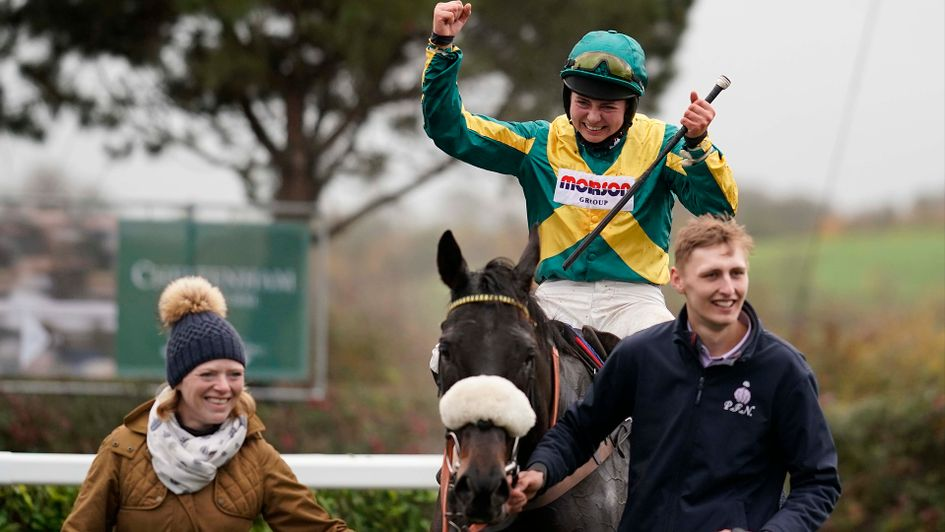 Bryony Frost celebrates on Present Man at Wincanton