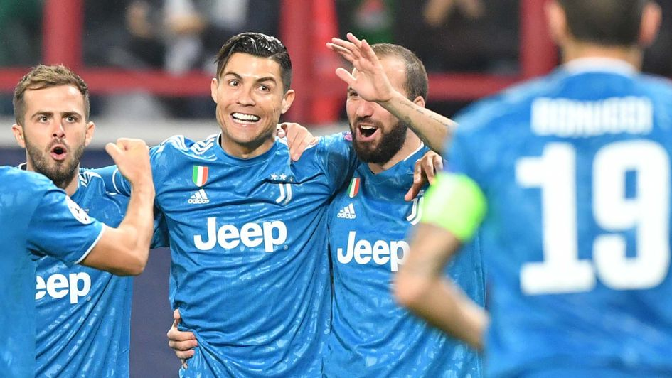 Cristiano Ronaldo celebrates as Juventus beat Lokomotiv Moscow in the Champions League