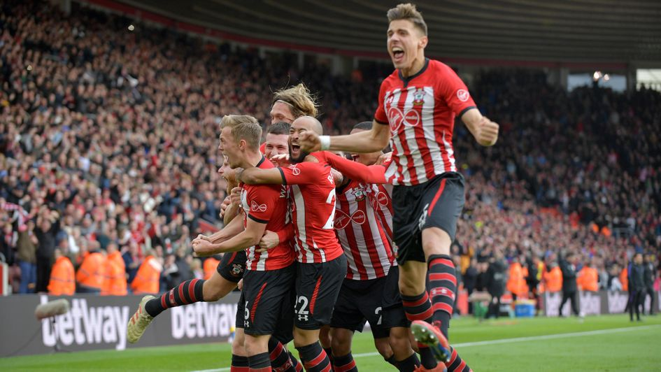 Southampton players celebrate James Ward-Prowse's goal against Spurs