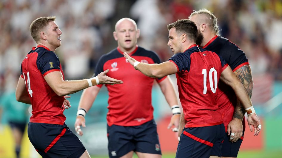 England's George Ford (10) celebrates scoring his side's opening try