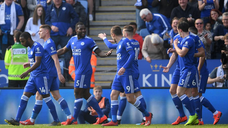 Leicester celebrate Wes Morgan's goal against Bournemouth