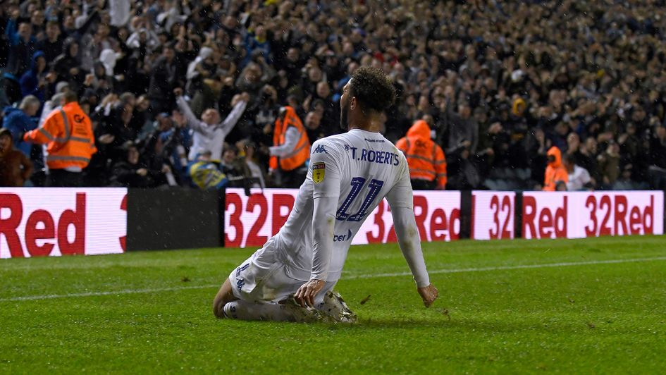 Tyler Roberts celebrates his goal against Preston