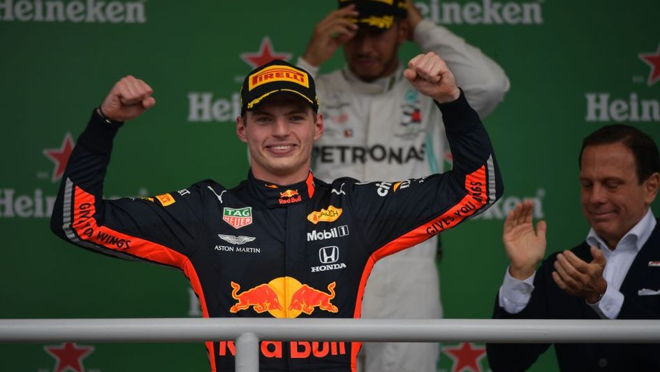 Max Verstappen on the podium in Brazil