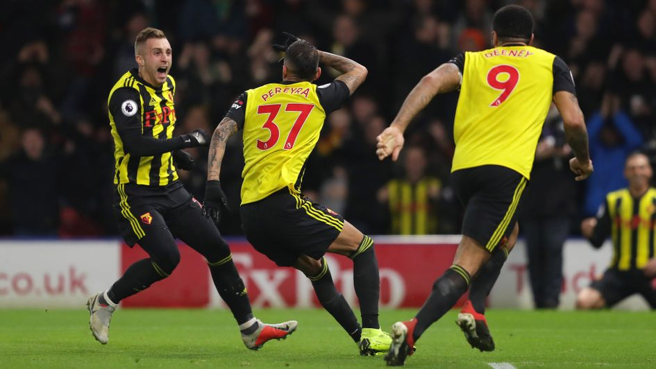 Roberto Pereyra (centre) celebrates his goal for Watford against Chelsea